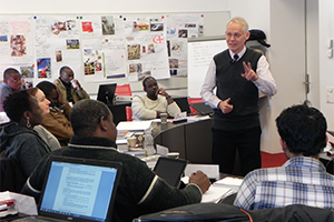 Supply Chain Principles class for humanitarian logistics master students with Gerard de Villiers